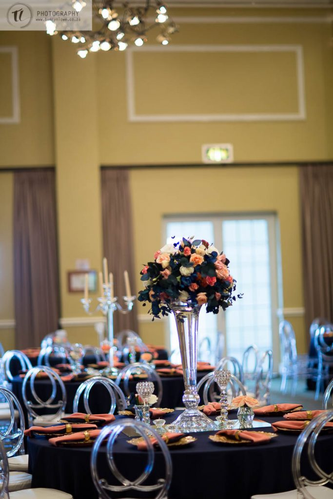 Flowers on table at wedding venue