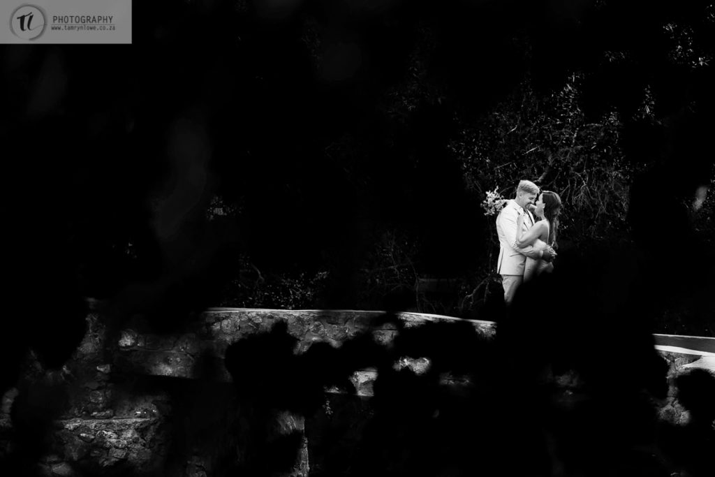 Black & White image of bride & Groom through leaves
