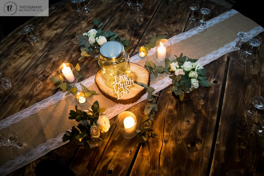 Rustic Table Decor at Engagement Party